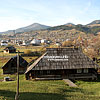 The village view, in the foreground - Museum of the film «Shadows of Forgotten Ancestors»