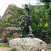 The sculpture of the legendary Wawel Dragon, who has relation to the foundation of Kraków city